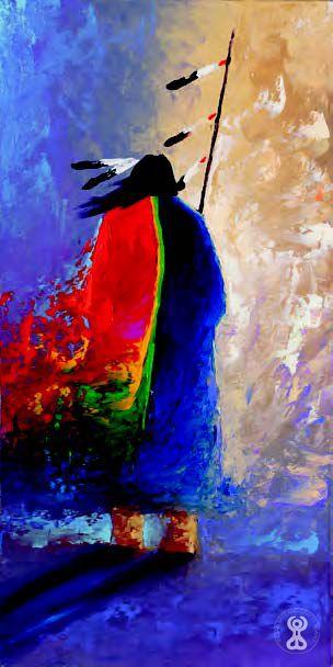 "Tim Tate Nevaquaya, Comanche: ""GOING TO THE SPIRIT WORLD""  Oil on Canvas  12"" x 24"""