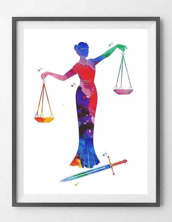 Justice Symbol Watercolor Print Lady Justice Art Print Lawyer