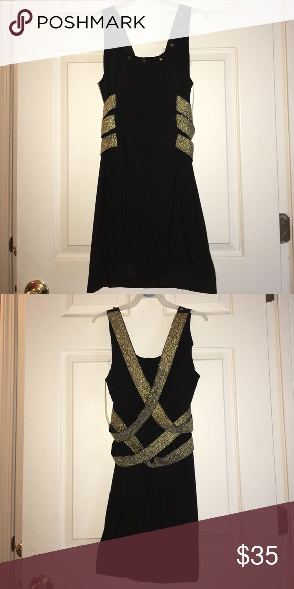 Black and gold bodycon dress Black formal dress with a strapy back. Never worn! Runway Couture Dresses Mini