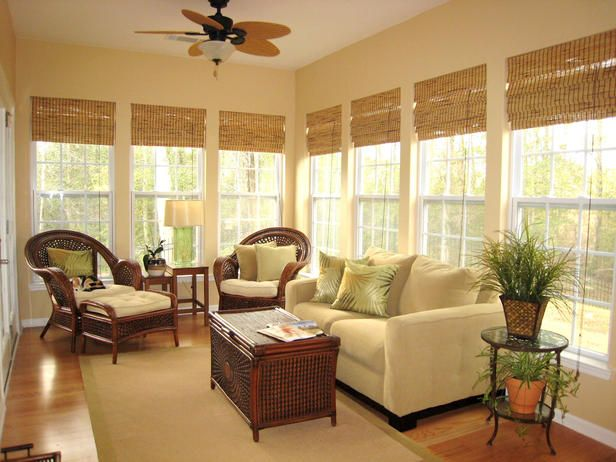 Tropical Shade RMS user gailtheshopper can shade her bright sunroom with floor-length bamboo shades.