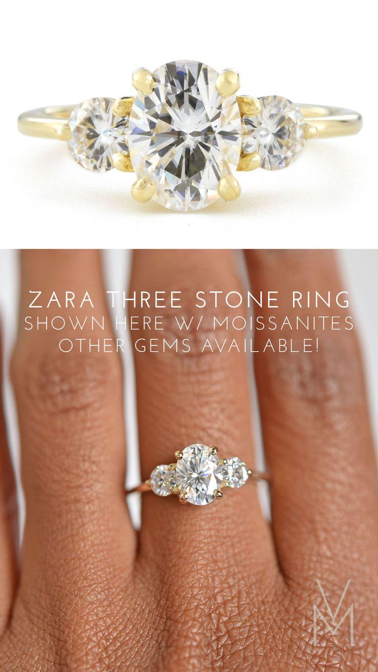 Zara Oval Three Stone Moissanite Engagement Ring