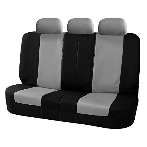 FH Group FB051GRAY013 Gray Universal Split Bench Seat Cover (Allow Right and left 40/60 Split, 50/50 Split Fit Most of Vehicle)  Includes rear bench and backrest cover with 3 headrest covers  Rear bench covers have three zippers on them to accommodate left and right 40/60 split, 40/20/40 split and 50/50 split. It also allows you to fold down the cup holder or armrest by unzipping one of the zippers on the backrest cover.  Materials are Made from Durable & Comfortable Breathable High Qu...