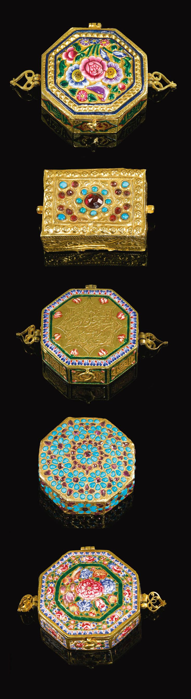 Persia | Five Qajar gold, enamelled and jewelled miniature Qur'an cases | ca. 19th - 20th century | 32'500£ ~ sold (Apr '15)