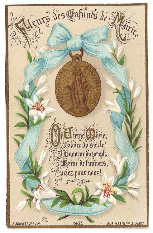 Miraculous Medal with Blue Ribbon and Lily Flowers Antique