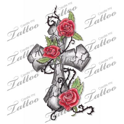 marketplace tattoo cracked stone cross amp climbing roses