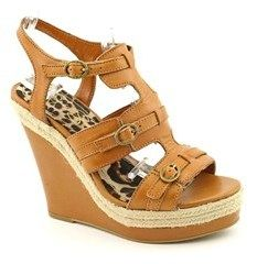 Jessica Simpson Mack Women Open Toe Leather Tan Wedge Sandal.