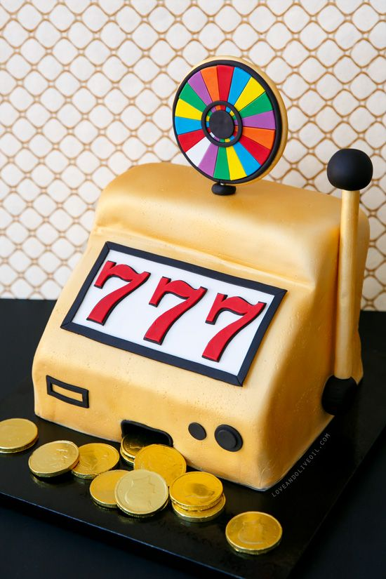 """Vegas-inspired """"Wheel-of-Fortune"""" Slot Machine Birthday Cake, complete with chocolate coin jackpot!"""