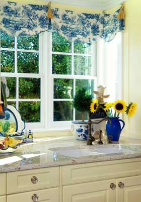 Love french country - blues yellows and white, especially in the kitchen