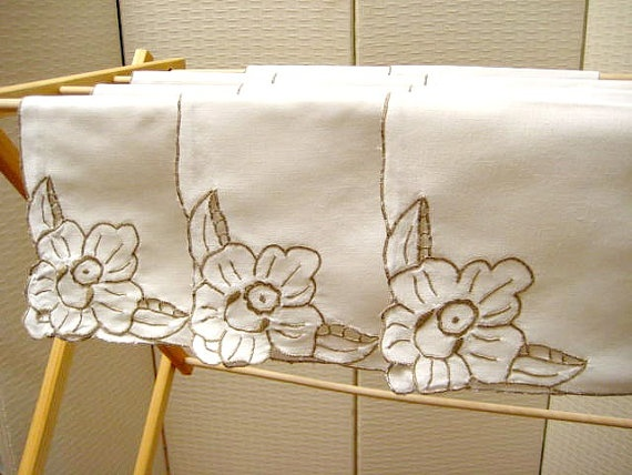 Vintage Napkins 11 Count Linen Madeira Taupe on White by cushgoods