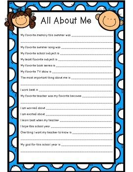 All about me back to school student survey back to for About me template for students