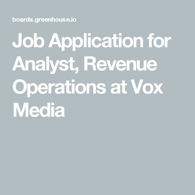 Job Application for Analyst, Revenue Operations at Vox Media