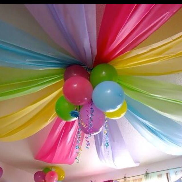 How cute for a kid's party!!! Or, could use other colors for a classier look! **********************************************Cheap plastic table cloths from the party store + balloons. Did this in red, blue and yellow for Ryan's Curious George Birthday party! Amaaazing! So much decoration for so cheap. I have no idea how the one in the photo got put up, but I used packing tape.