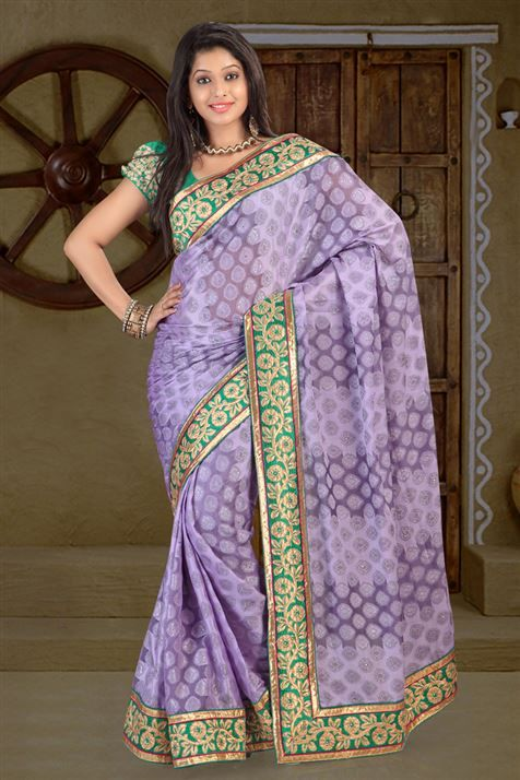 Georgette Purple party wear saree