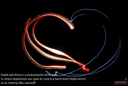 Light painting is a photographic technique in which exposures are made by moving a hand-held light source or by moving the camera