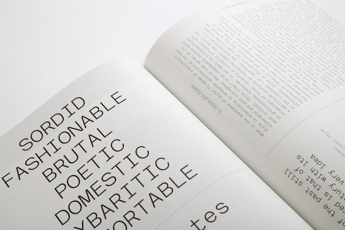 monospaced type from kyle blue/geoff halber's work w/ perspecta (yale architecture)