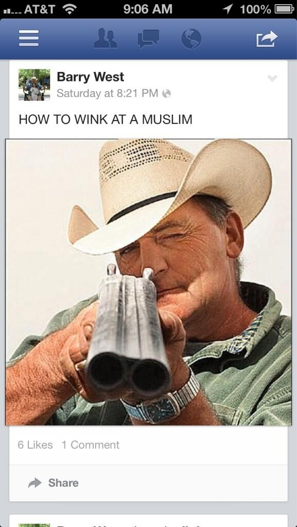 """Coffee County TN Commissioner Barry West posted this hateful image on his Facebook captioned """"How to wink at a Muslim"""""""