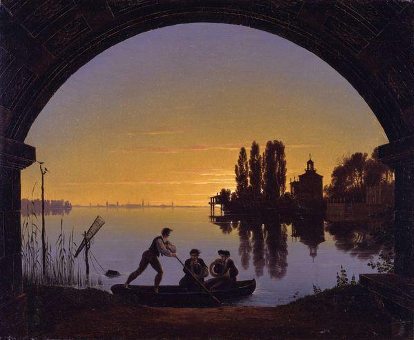 Superb Karl Friedrich Schinkel u Spree waterside at Stralau Oil on