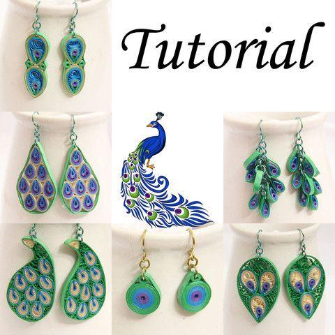 Tutoriel PDF pour papier Quilled Peacock bijoux - boucles d'oreilles et pendentifs - Télécharger Instant   Quilling de miel