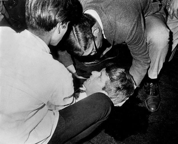 RFK...his only words were to ask the kind busboy holding his head (Romero) if everyone was ok...