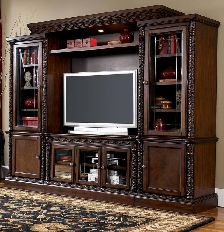 Signature Design By Ashley U0027North Shoreu0027 Brown Entertainment Center    Overstock™ Shopping   Great Deals On Entertainment Centers