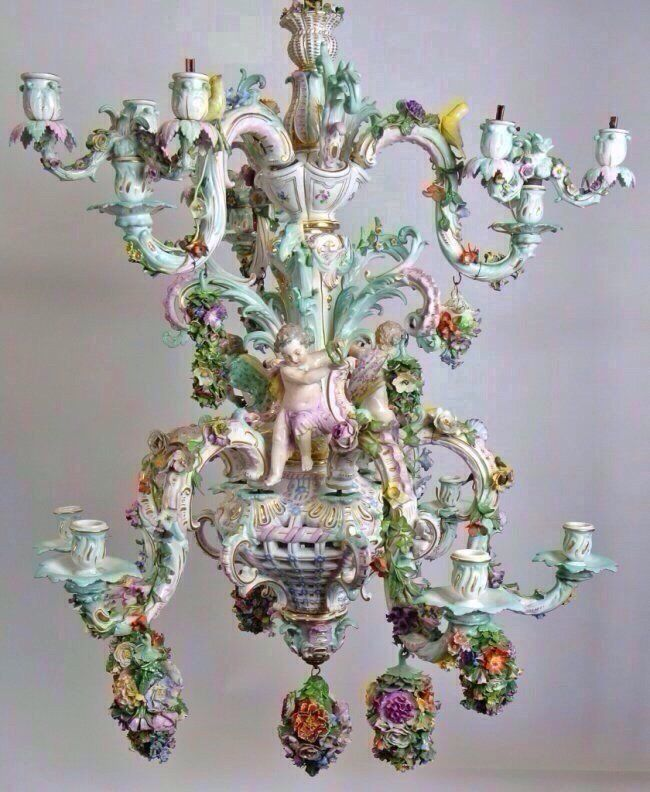 1022 best chandeliers images on pinterest chandeliers crystal large 19th century meissen chandelier lot 176 mozeypictures Images