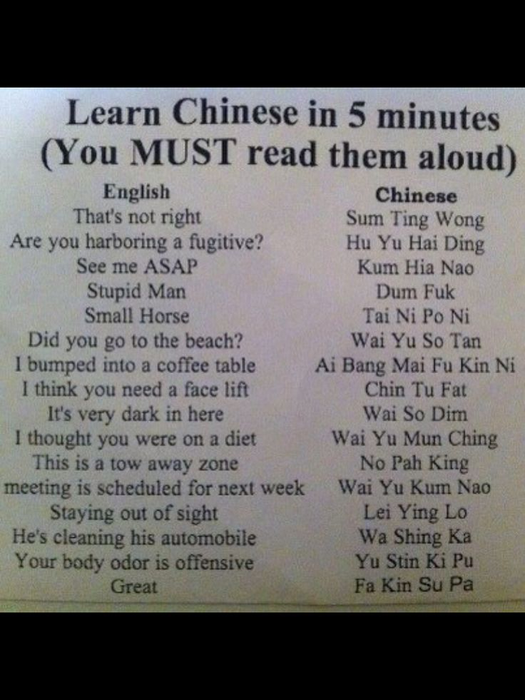 Learn Chinese in 5 Minutes', this is soooooooo politically incorrect, but I'm still laughing! ; )