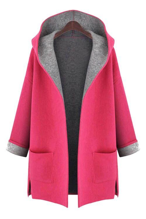 Hooded Long Sleeve Two Pockets Coat