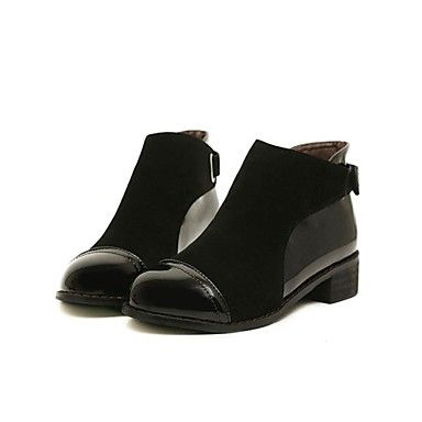 zapatos de moda botas de punta redonda bajo el talón del tobillo de la mujer con cinta mágica y zapatas de unión de división (más colores) - EUR € 32.66