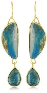 "Heather Benjamin ""Sea"" Peruvian Opal and Chrysocolla Earrings"