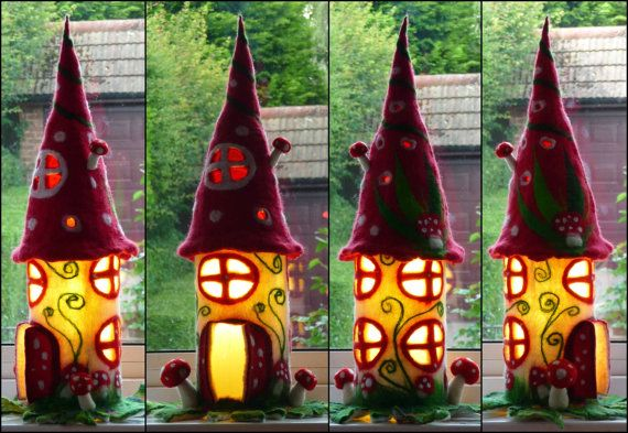 felted fairy lamp, toadstool, bedside lamp, night light, handmade, wool, felt, fairy light, Waldorf inspired