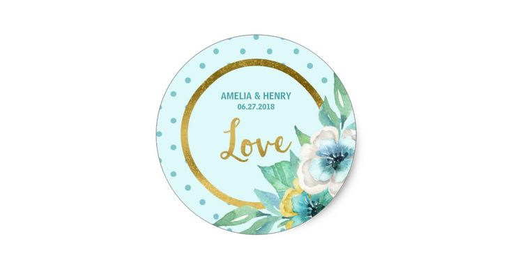 Mint and Faux Gold, Watercolor Floral Wedding Love Classic Round Sticker by Rosewood and Citrus on Zazzle
