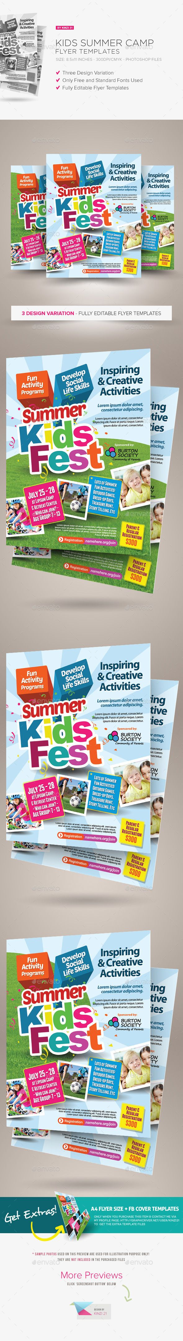Kids Summer Camp Flyers.  activity, ad, adventure, advert, advertisement, boys, camp, child, children, class, community, day, easter, family, flyer, fun, girls, holiday, kid, kids, leaflet, night, pamphlet, poster, program, recreation, sport, summer