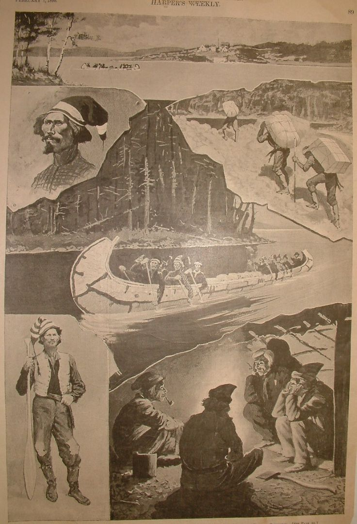 "1890 Harper's Weekly ""a Six-pathom Canoe bound North -Sketches from the Shores of Lke Superior, drawn by Frederic Remington. This is a wonderful antique print. Merringsprintsandmaps.com $45.00"