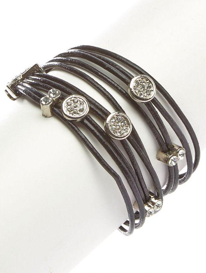 I Love Accessories Silver & Black Rhinestone Leather Wrap Bracelet