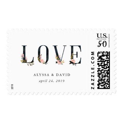 Elegant Black Floral Text | Love Wedding Postage - floral style flower flowers stylish diy personalize