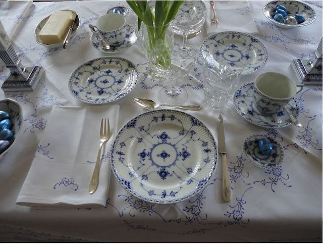 Easter Breakfast Table Setting with Royal Copenhagen, Musselmalet