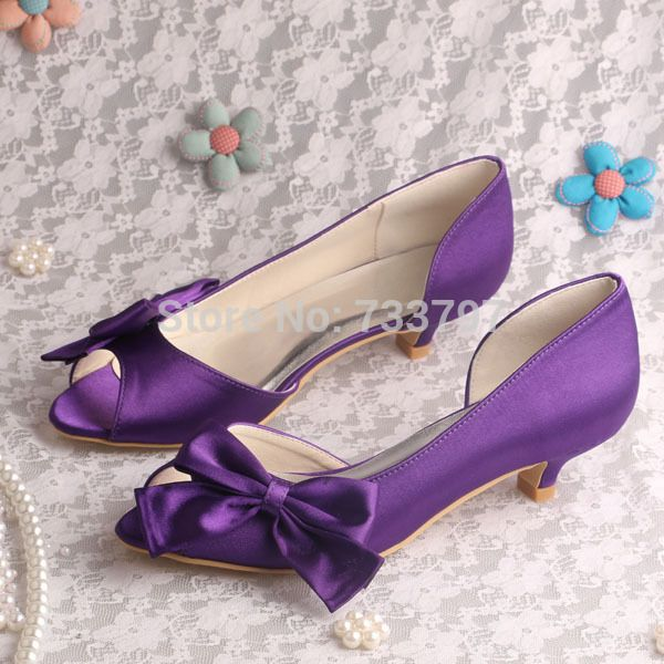 >> Click to Buy << (20 Colors)Custom Purple Pumps Low Heeled Wedding Party Shoes Peep Toe Big Bows  #Affiliate