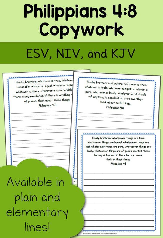 Bible Copywork Philippians 4 8 Pinterest Bible Homeschool And