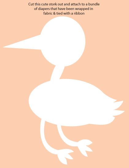FREE printable stork picture - also a picture on how to make the cutest DIY stork diaper carrier for a shower! So adorable! #storkbabyshower