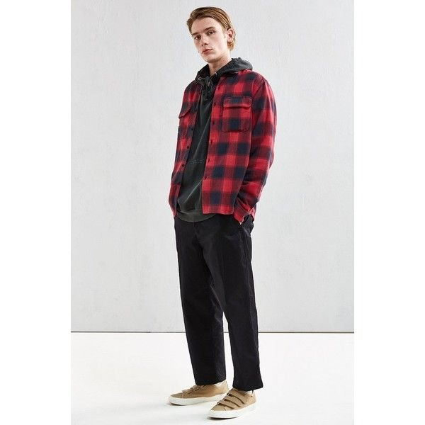 UO Buffalo Shadow Plaid Flannel Button-Down Shirt (13.445 HUF) ❤ liked on Polyvore featuring men's fashion, men's clothing, men's shirts, men's casual shirts, mens plaid flannel shirts, mens red button up shirt, mens red flannel shirt, mens flannel shirts and mens red shirt