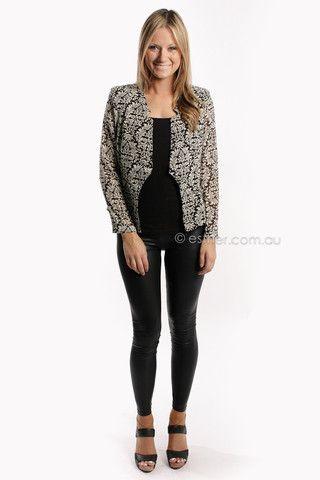 beckett light weight jacket - black/cream - sale