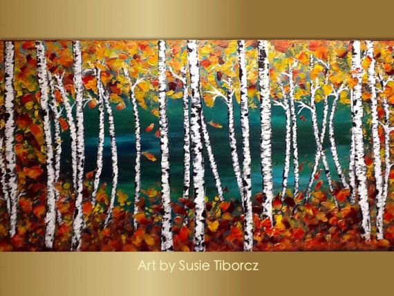 """CLEARANCE SALE Birch Trees Painting, Aspen Trees Modern Absract Landscape, Forest painting, ready to hang, art by Susie Tiborcz 24"""" x 48"""""""