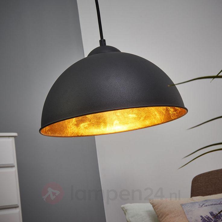 Zwart-gouden metalen hanglamp Jimmy veilig & makkelijk online bestellen op lampen24.nl