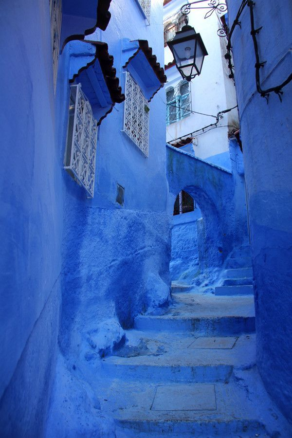 Chefchaouen, Morocco - A full gradient of blue covering every surface imaginable.