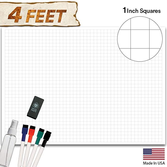 Amazon Com Battle Grid Game Mat 48 X 34 5 Jumbo Role Playing Game Map Dnd Role Play Mat Rpg Dungeons An Grid Game Roleplaying Game Miniature Figures