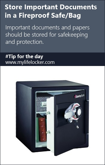 #Organizing Tip: Store important Documents in a fireproof safe or bag