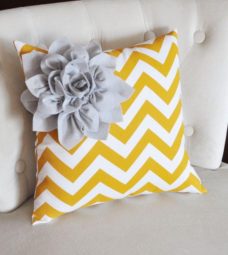 Wall Art, Bedrooms Pillows, Chevron Flower, Flower Pillows, Corner Dahlias, Gray Corner, Throw Pillows, Zigzag Pillows, White Zigzag