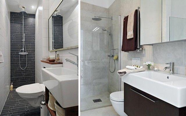 Distribución de baños alargados y estrechos