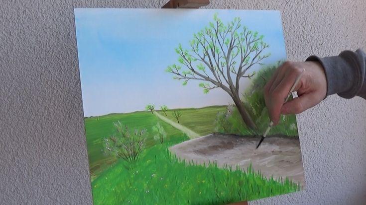 Kostenfreier Malkurs. Seht wie dieses farbenfrohe Frühlingsbild step by step entsteht.