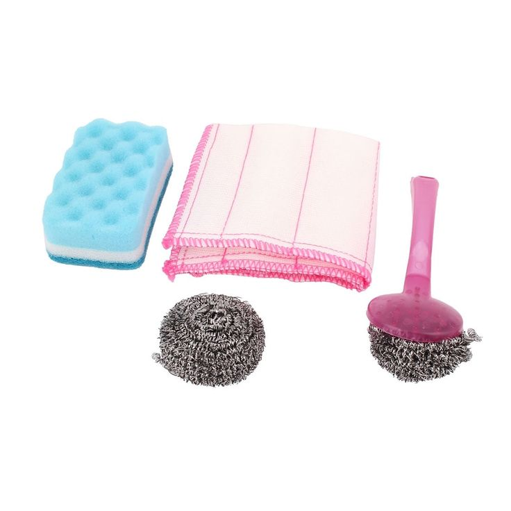 Unique Bargains Kitchen Dish Cleaning Washing Fuchsia (Pink) Plastic Handle Scourer Sponge 4 in 1